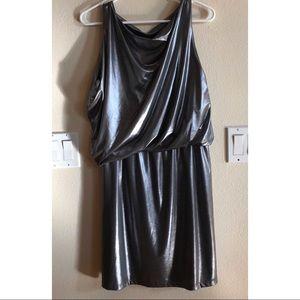 Liquid metallic silver sleeveless dress NEW